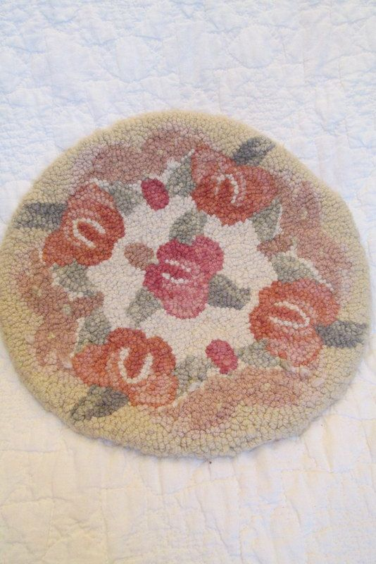 Vintage Hooked Chair Pad Floral Design By Rarefinds4u On Etsy $15.75