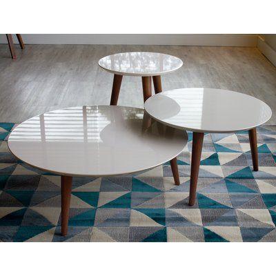 George Oliver Enrique 3 Piece Coffee Table Set Wayfair Coffee Table Modern End Tables 3 Piece Coffee Table Set