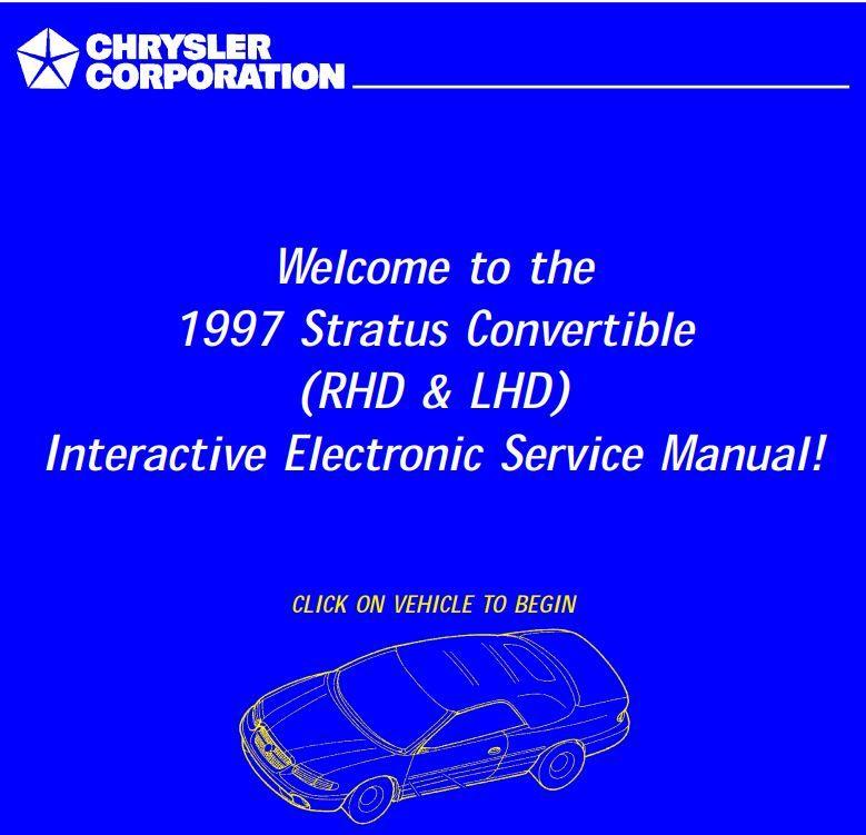 Chrysler Jx Stratus Sebring Convertible Lhd Rhd 1997 Service Manual With Images Sebring Convertible Chrysler