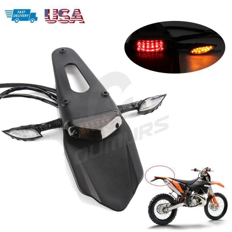 Iron License Plate Bracket Tag Taillight Holder ATV Dirt Bike dual Motorcycle US