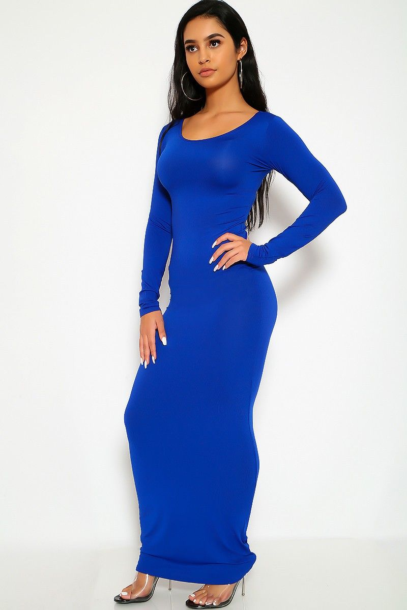 c85df3cdb18b Buy Royal Blue Long Sleeves Bodycon Maxi Dress with discount price and high  quality Sexy dresses
