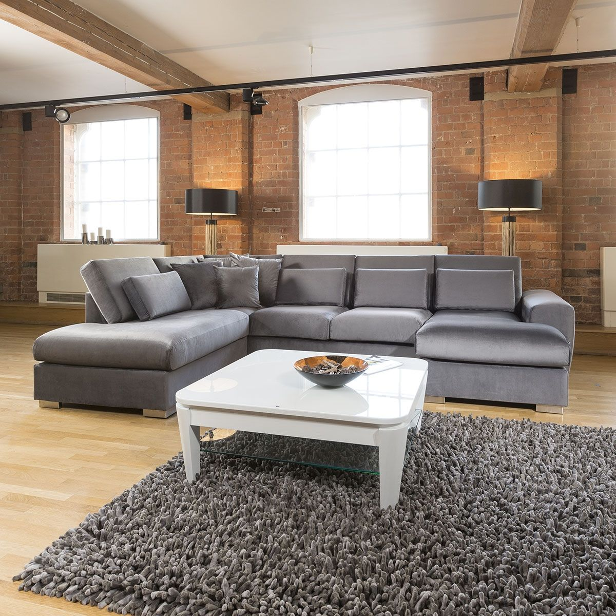 Stunning Corner Sofa Velvet Quatropi Ohio 5 Seater L Shaped Grey Stk19 Corner Sofa Living Room Sofa Velvet Sofa