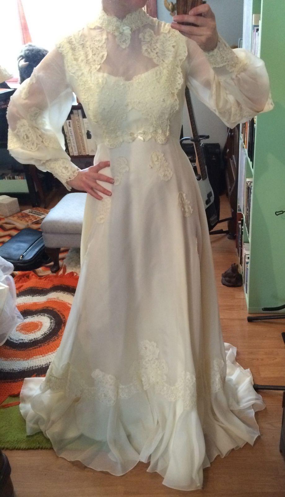 Vintage Bridal Originals Wedding Dress Gown Size 10 Hippie