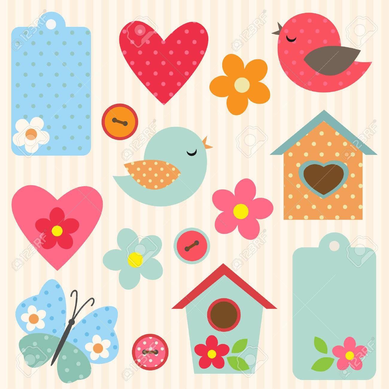 Conjunto de flores del vector, pájaros, mariposa y pajareras