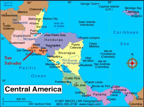 Central america my exotic beautiful el salvador pinterest map of belize showing its central american neighbours gumiabroncs Image collections