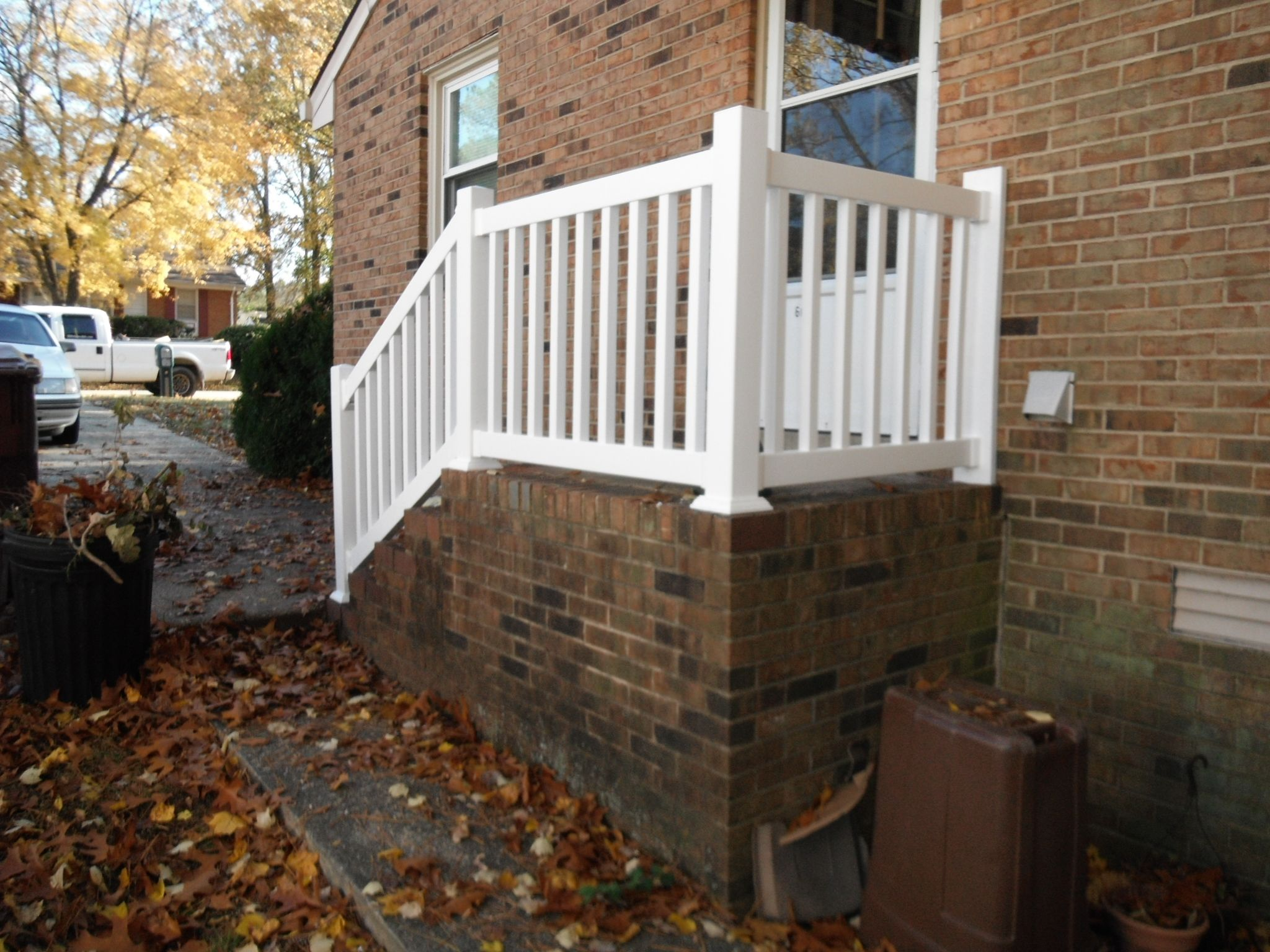 Before And After Photos Of New Vinyl Railings On Side Porch Vinyl Railing Side Porch Concrete Porch