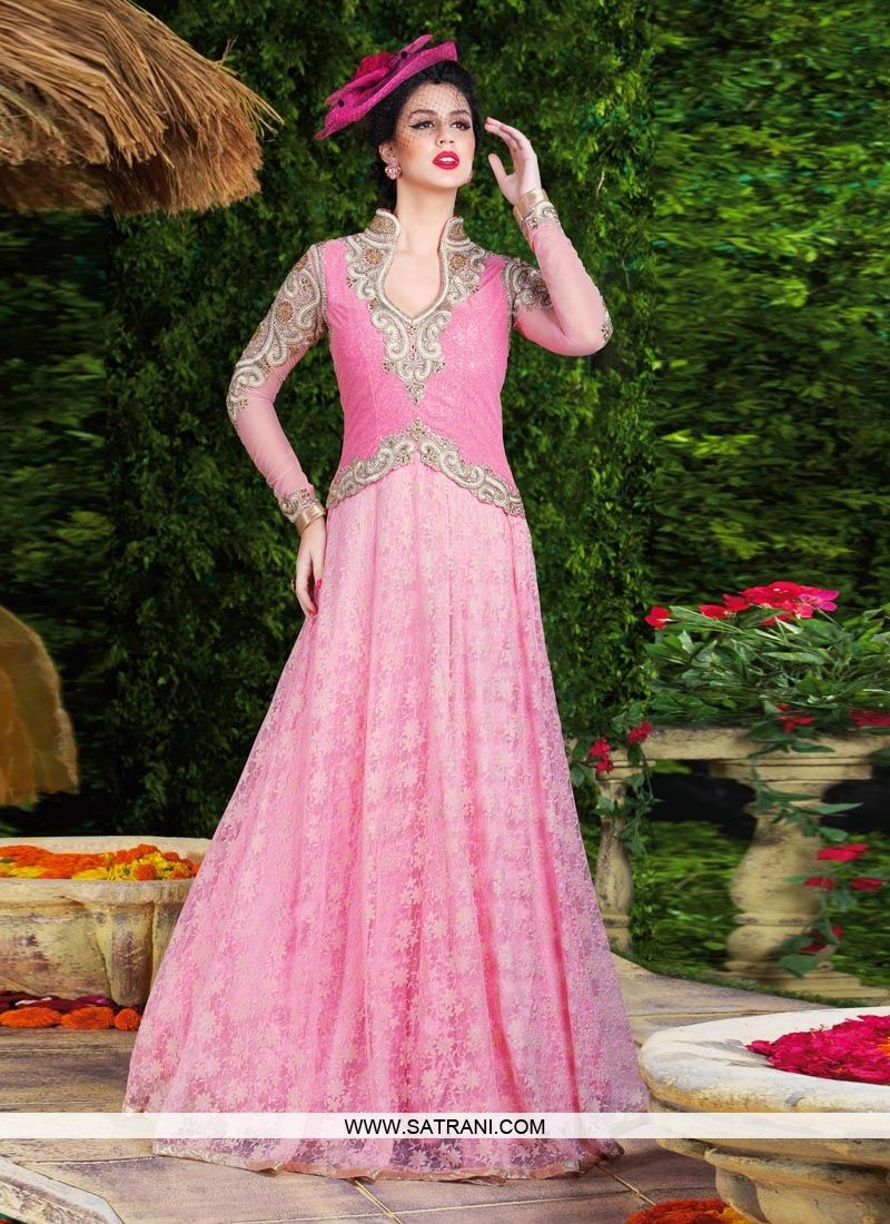 ANGELLIC LIGHT PINK COLOURED SEMI-STITCHED GOWN PRODUCT CODE: 6488 ...