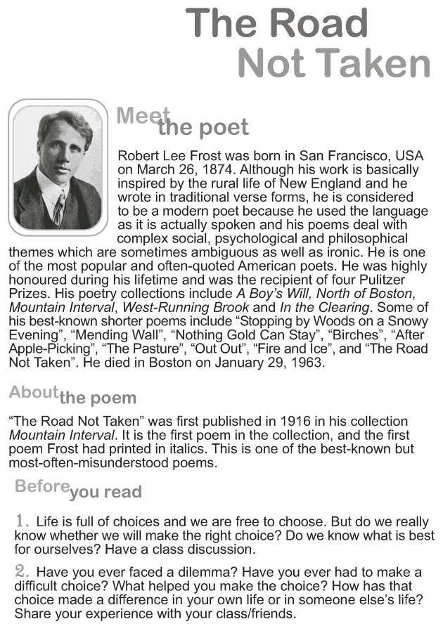Grade 9 Reading Lesson 1 Poetry The Road Not Taken