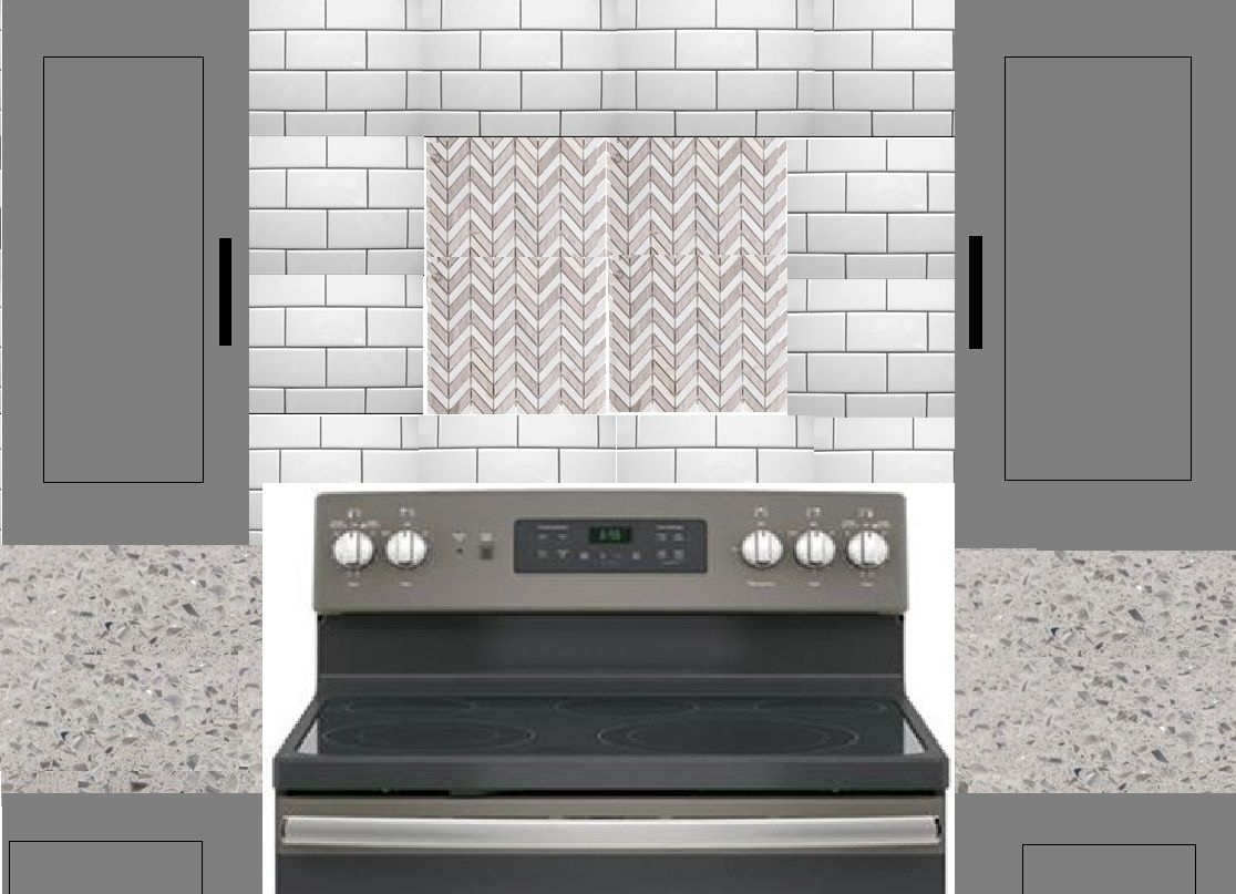 White Grey Subway Tile Backsplash With A Chevron Accent Gray Shaker