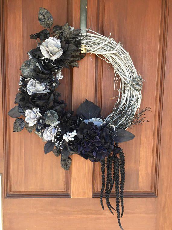 Halloween wreath gothic wreath pumpkin wreath glitter Halloween - halloween party ideas for adults decorations