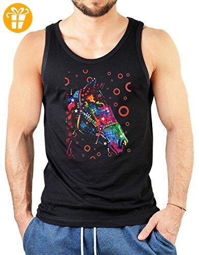 Pop Art Style Tank Top Neon Pferd Shirt 4 Heroes Beach Tanktop Herren Geburtstag Geschenk geil bedruckt (*Partner-Link)