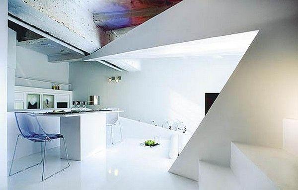 kleines designer apartment essbereich küche acryl möbel ...