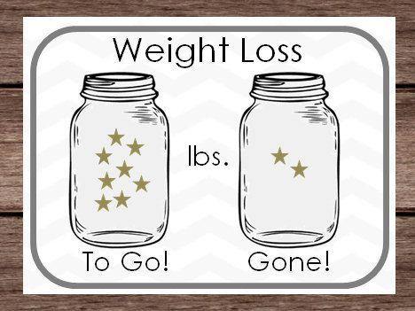 digital weight loss sticker chart mason jar star goal lbs pounds