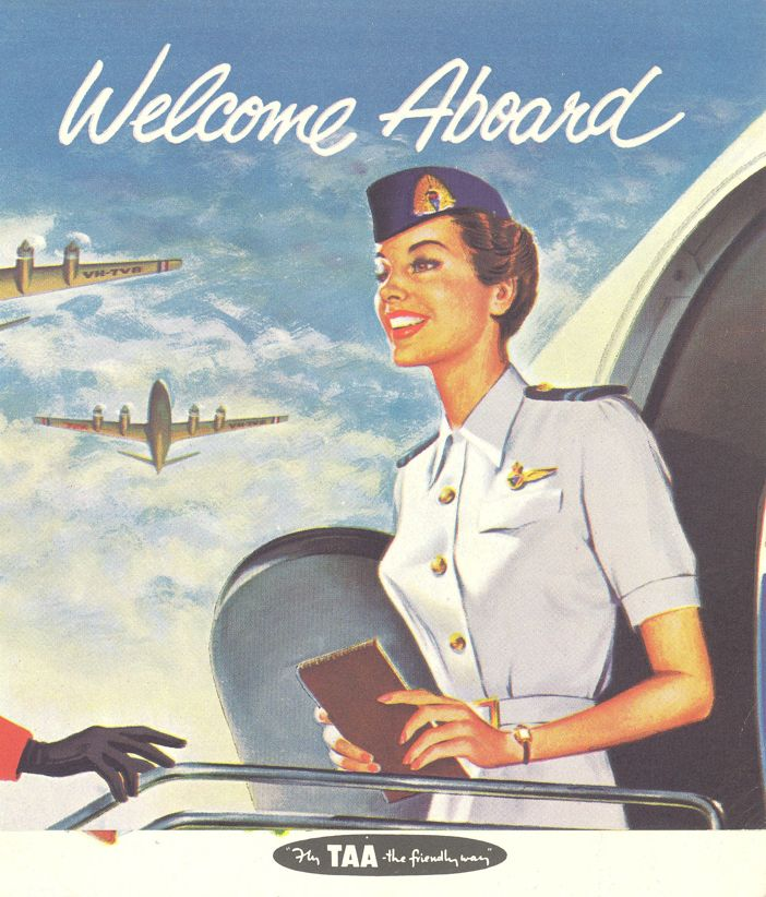 Trans-Australia Airlines poster c.1955. TAA later became Australian Airlines and merged with Qantas in 1992.