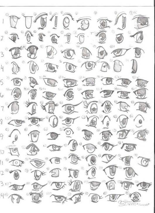 A list of manga eye drawings