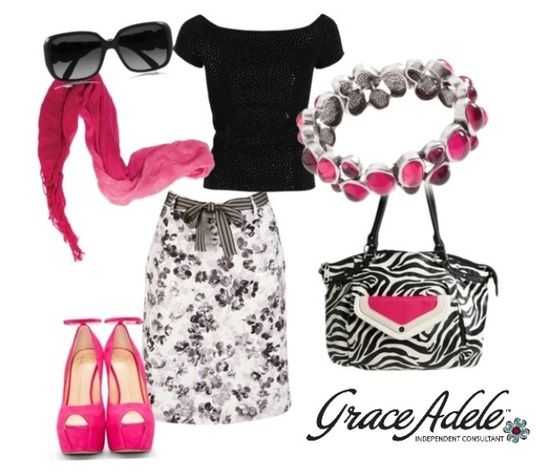 Zebra Handbag and Hot Pink Accents complete this LOOK!  Order your Grace Adele Handbags and Accessories at http://kslater.graceadele.us