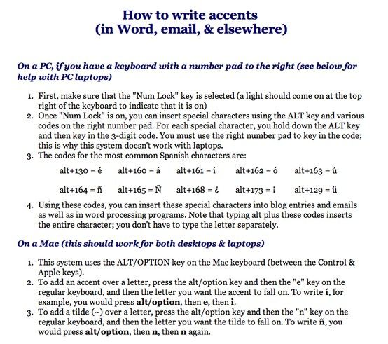 Adding accents using a Mac or PC keyboard Accents