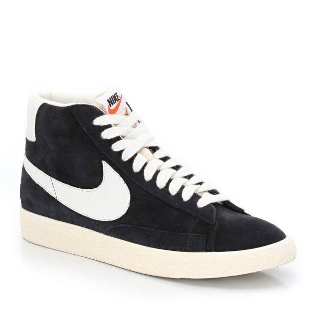Nike Blazer Mid premium Vintage suede Chaussure pour Femme Noir Blanc,Fashion  Style.