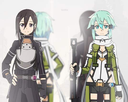 Kirito and Sinon. Gun Gale Online. GGO.