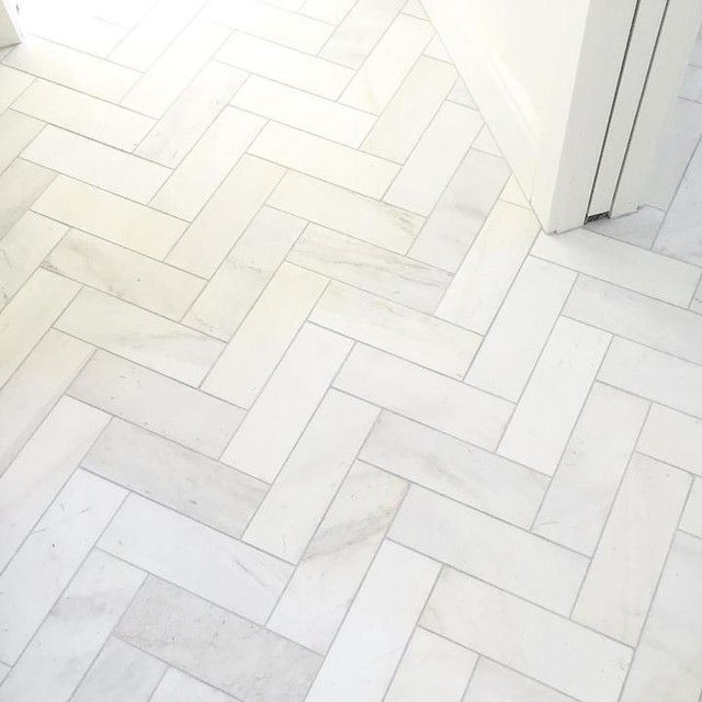 Satin White Bathroom Floor Tile In A