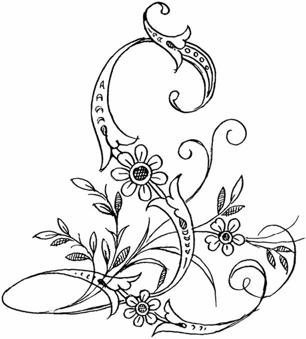 l flower coloring pages | Dover Publications | Embroidery letters, Embroidery ...
