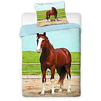 Amazon.com  Horse Animal Single Duvet Cover Set 100% Cotton By BestTrend   Bedding   Bath 3a581da83e