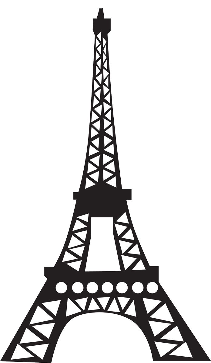 picture about Eiffel Tower Printable identify Eiffel tower silhouette - for 3d paper craft, 12 sheets/every