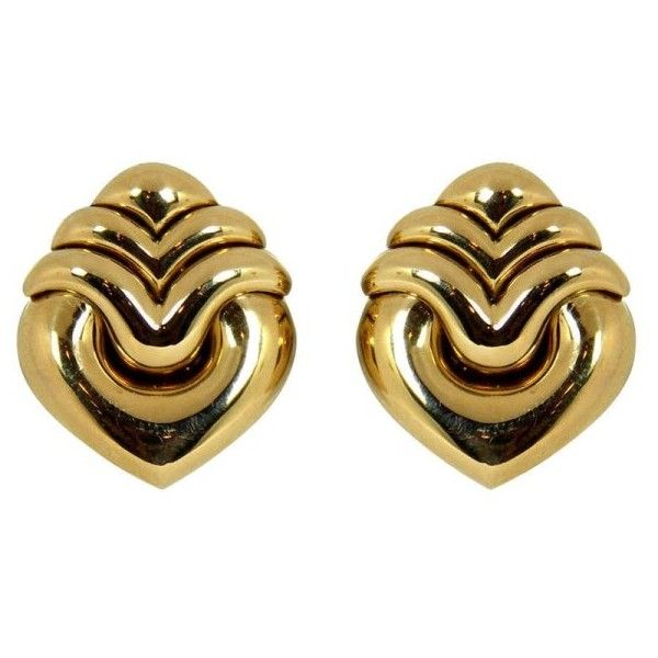 preowned bulgari gold heart earrings liked on polyvore featuring jewelry