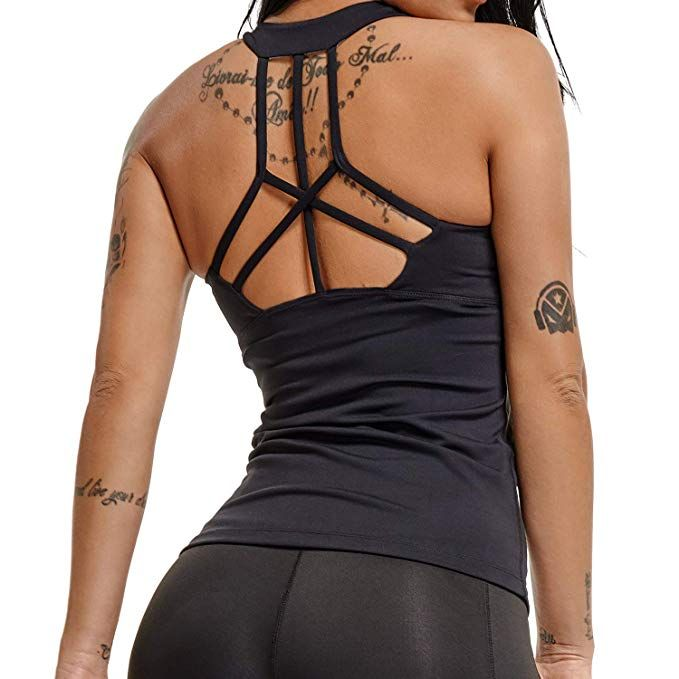 3164d951ae09 YOFIT Sexy Yoga Tank Tops Backless Vest with Removable Pad Workout  Sleeveless Shirts Open Back Black M