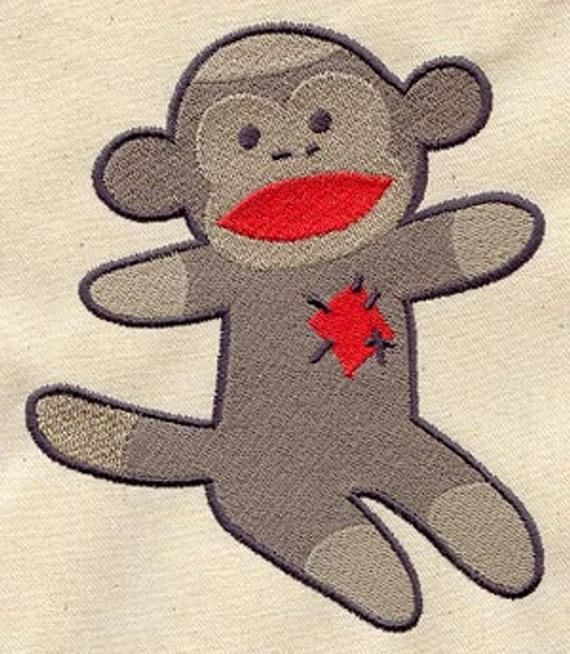 Sock Monkey Embroidered Waffle Weave Hand/Dish Towel #dishtowels