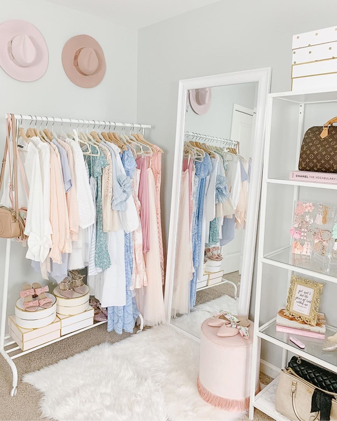 Ikea Dorm Room Ideas: Pink Office Decor Ideas, Blogger Office, Clothing Rack