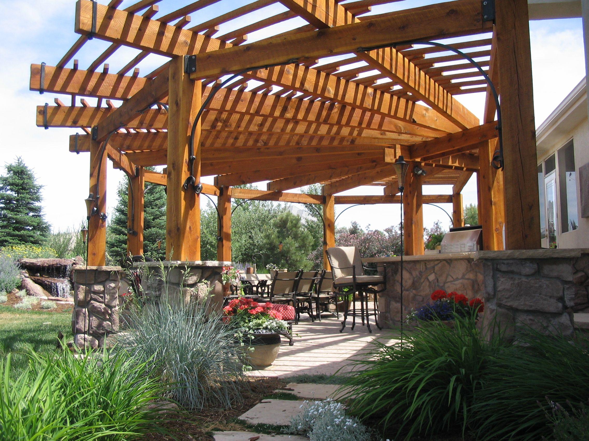 Captivating Wood Pergola, Natural Stone Columns, Outdoor Rooms, Landscape
