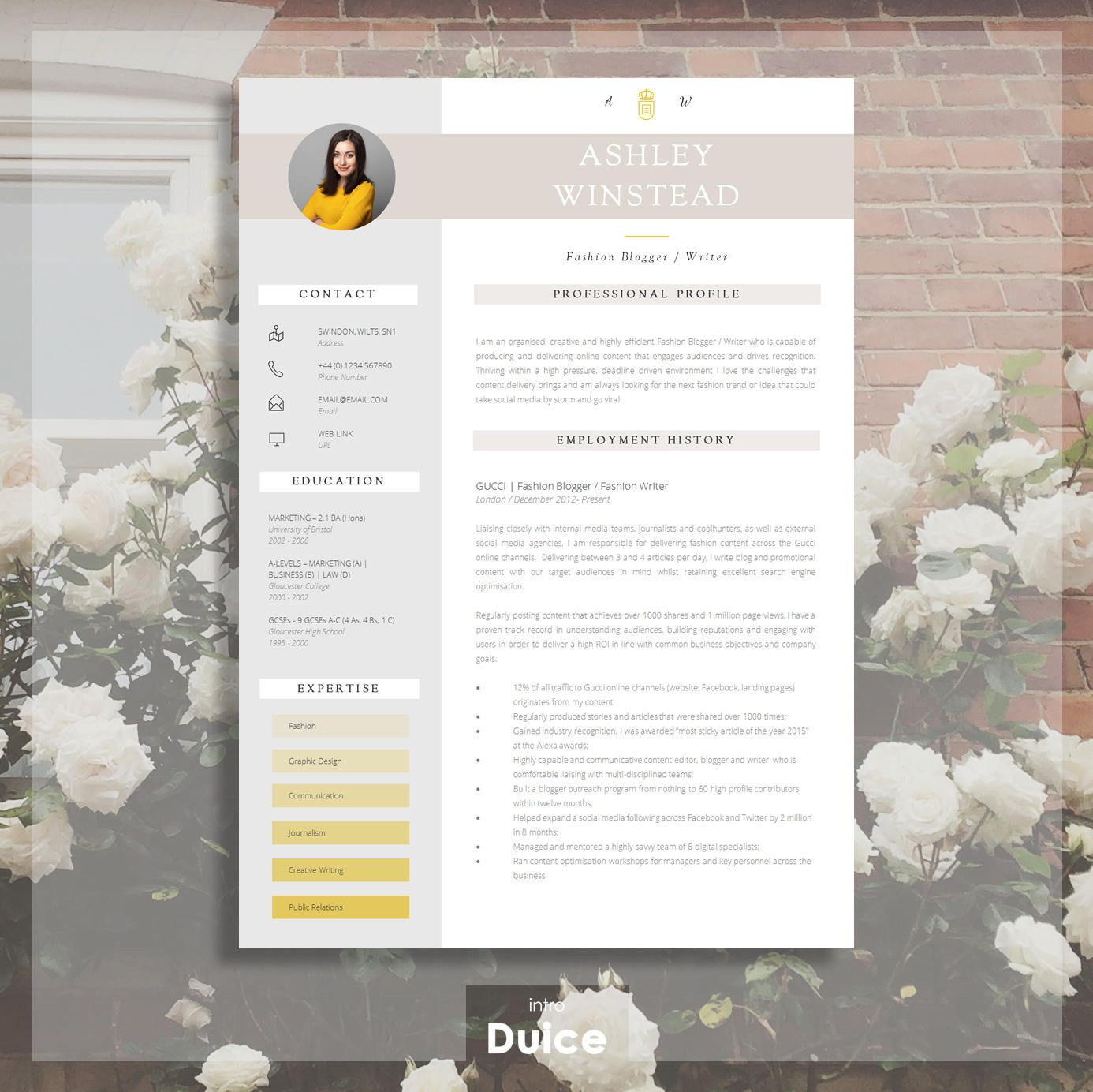 Resume Template | Creative Resume Template | Two Page Professional ...