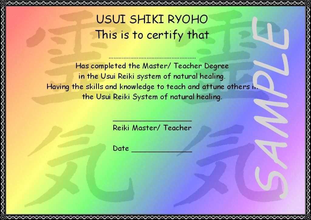 Usui Reiki Master Teacher Degree Picture Sample Projects to Try