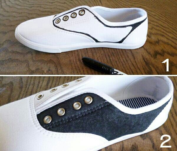 Cheap Cloth Tennis Shoes Black Sharpie DIY Saddle For The Sock Hop