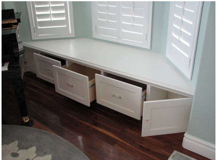 Built In Bay Window Seat Storage Turned Into Drawers For