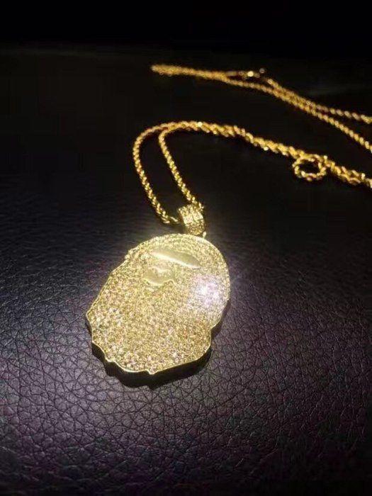 White Gold Finish .925 Silver Iced Mini Simulated Diamond Jesus Piece Pendant