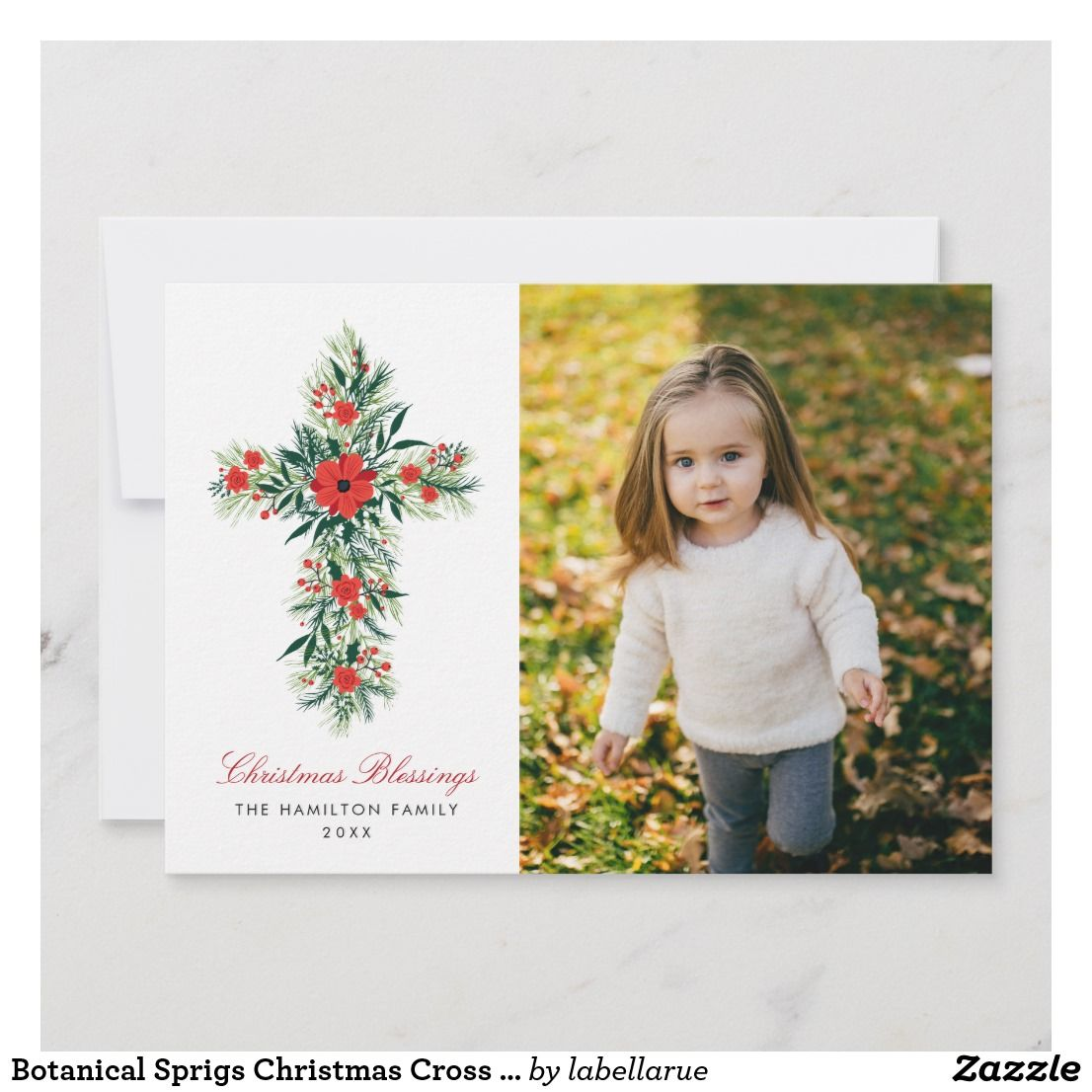 Botanical Sprigs Christmas Cross Religious Photo Holiday Card in ...