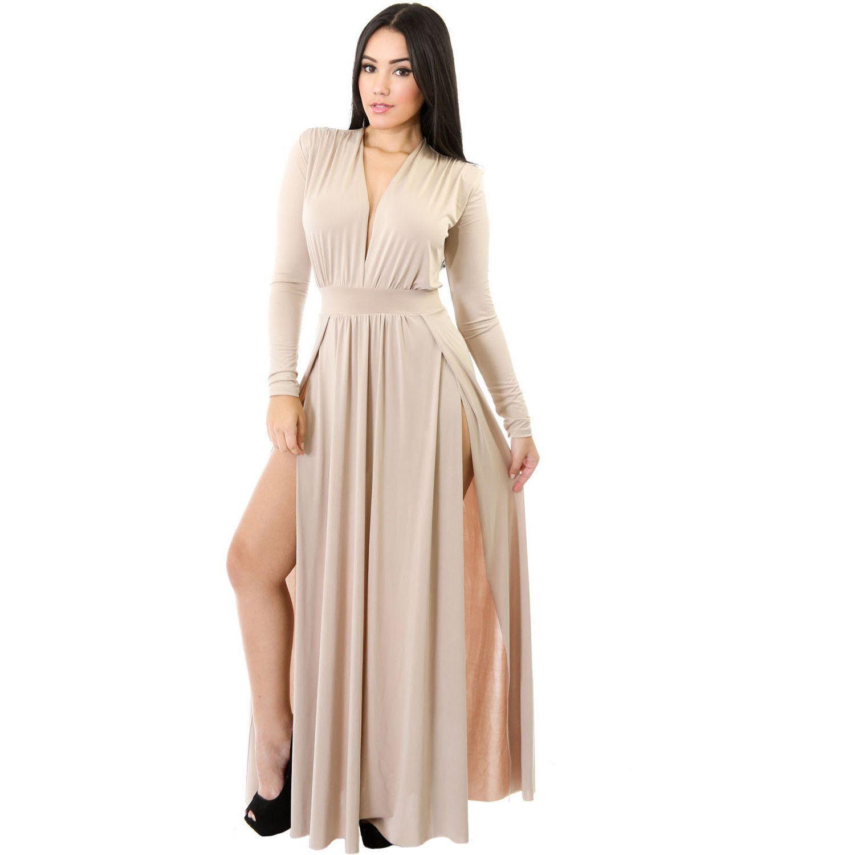 Apricot long sleeves long maxi dress maverlly products pinterest