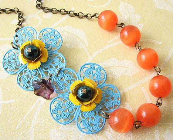 Enamel Flower Necklace Orange Jewelry Bridesmaid Necklace Turquoise Jewelry Tangerine Necklace. $49.00, via Etsy.