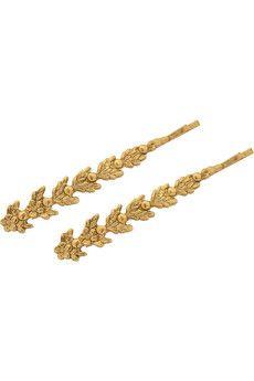 Jennifer Behr Anabel set of two gold-tone hair slides   NET-A-PORTER