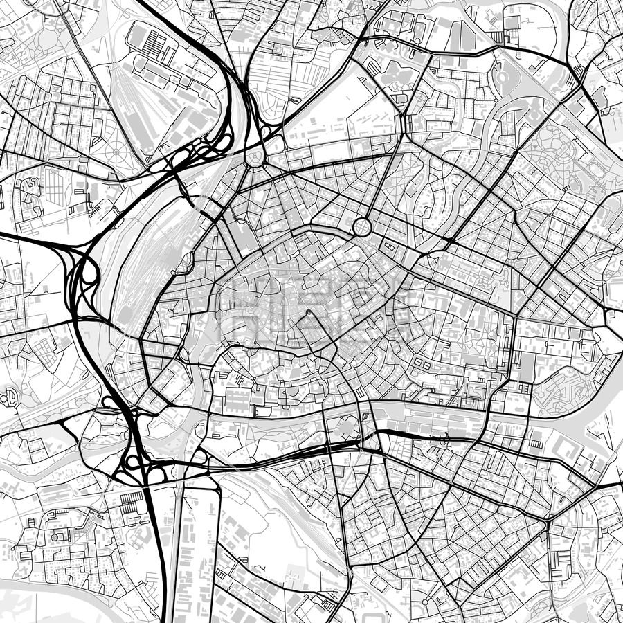 Downtown vector map of Strasbourg Strasbourg Infographic and