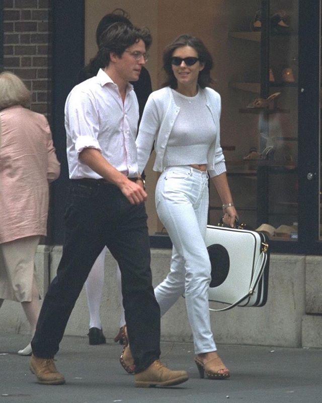 Hugh Grant Elizabeth Hurley White Tshirt And Jeans 90s Fashion Trending 90s Fashion