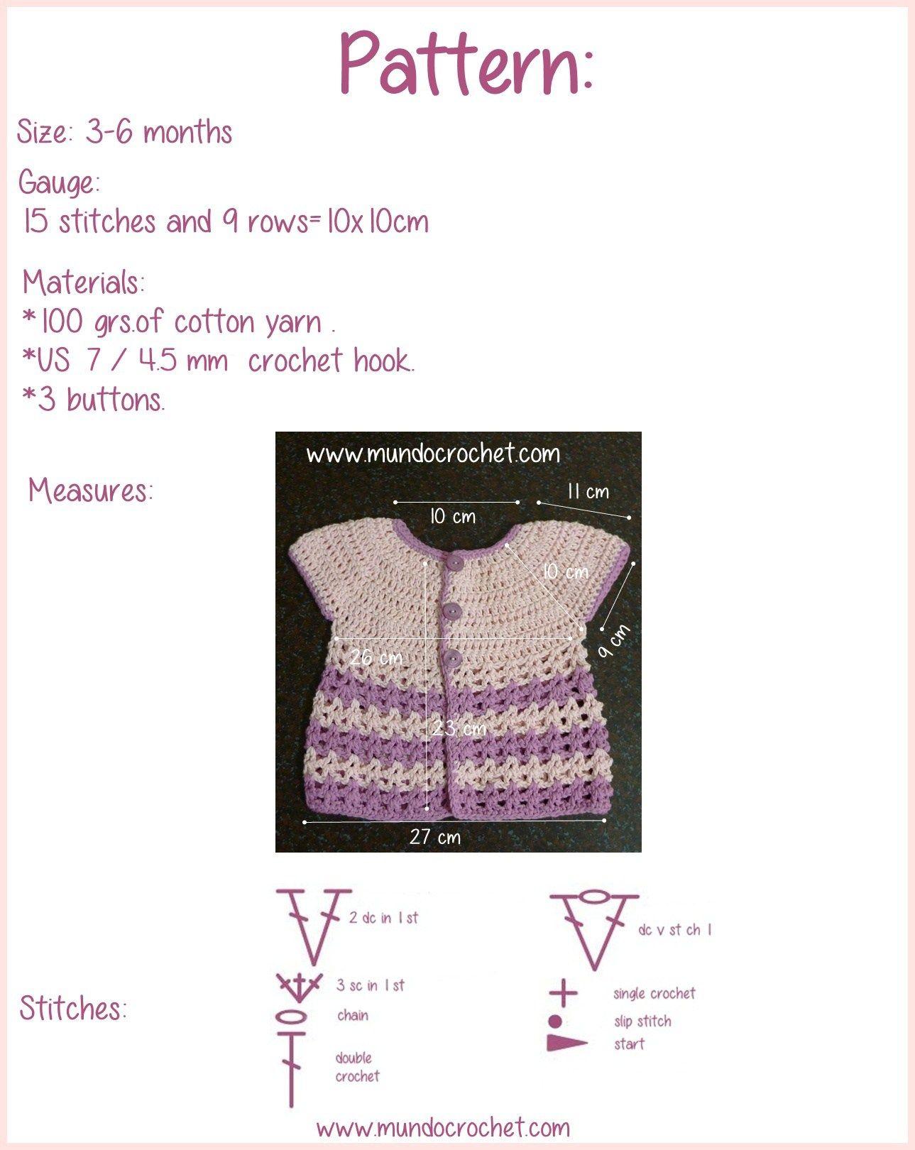 Round yoke baby crochet cardigan free pattern and tutorial2 | Croché ...