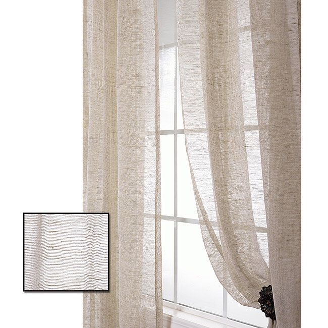 Exclusive Fabrics Linen Open Weave Natural 96 Inch Sheer Curtain