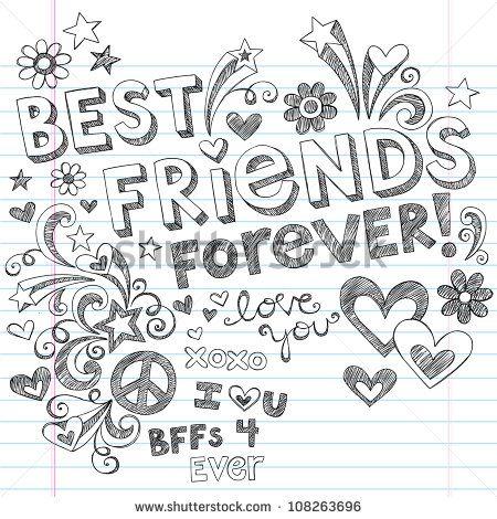 Handgeschrieben Best Friends Forever & Herzen  skizzenhaft Schul-Heft-Stil  Kritzeleien Gestaltungs-Elemente auf liniertem Notizbuch Paperback Vektor-Illustration