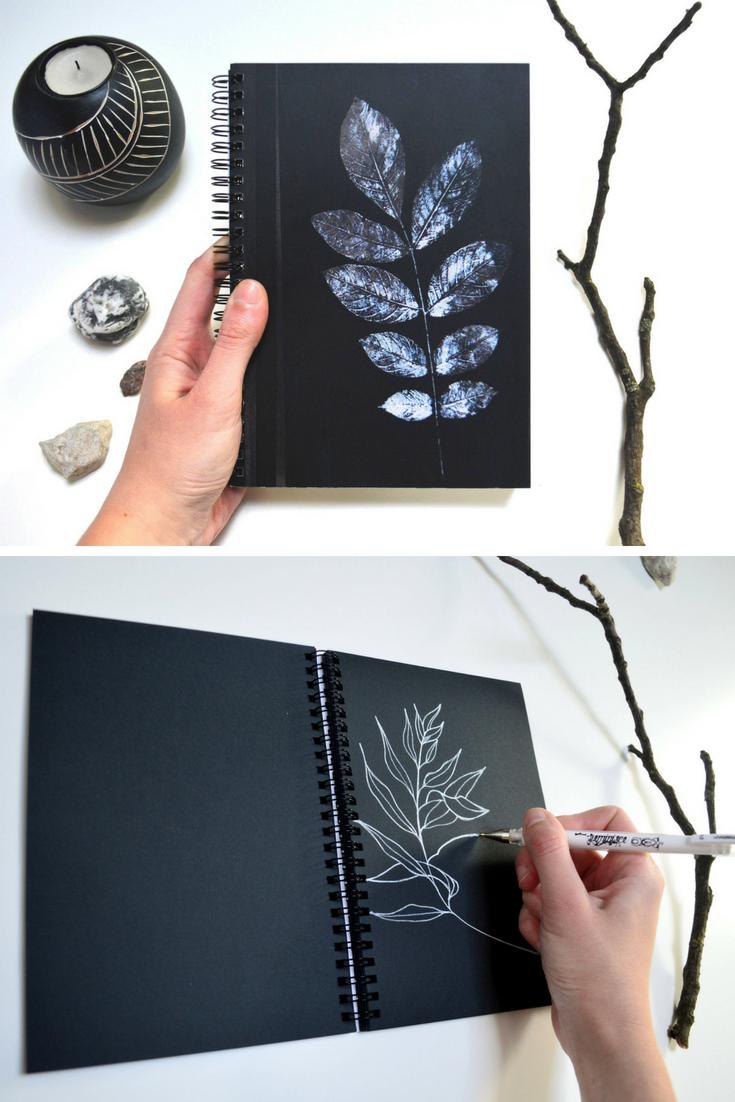 e66e16a09014 Black art print notebook botanical paper sketchbook writing A 5 ...