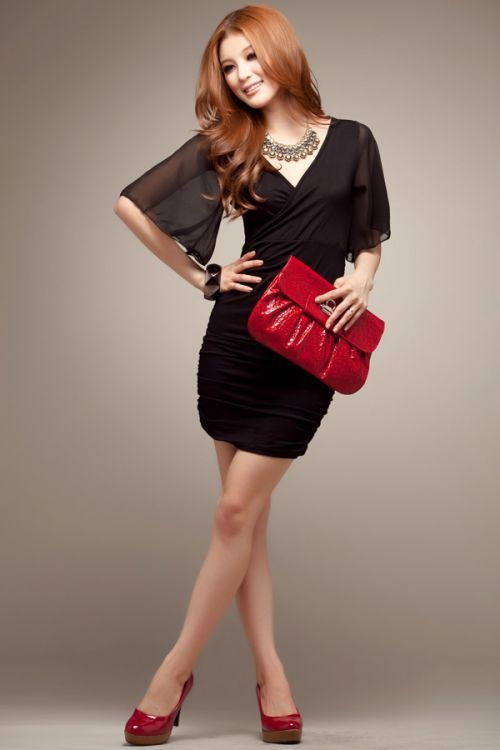 New Style Fashion Chiffon Sleeve Dress (black)
