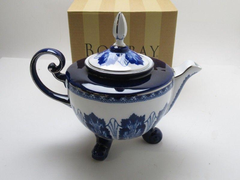 Bombay Blue White Ceramic Footed Teapot Tea Pots Blue Teapot