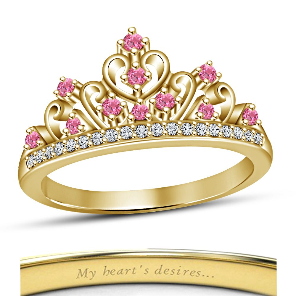 disney wedding ring Beautiful Ladies Multi Color Round Cut CZ Disney Princess Crown Engagement Ring